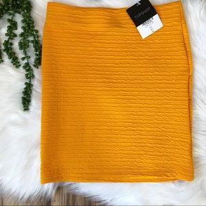 Topshop Textured Pull On Mini Skirt in Marigold